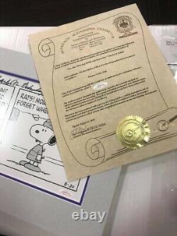 Peanuts Comic Strip Autographié Par Charles M Schulz Charlie Brown Snoopy W / Coa
