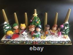Peanuts Danbury Menthe Noël Candelabra Snoopy Charlie Brown Rare
