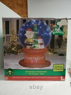 Peanuts Snoopy & Charlie Brown Christmas Gonflable Snow Globe 6 Ft Neuf Dans La Boîte