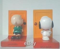 Peanuts Vintage Snoopy Charlie Brown Bookends En Céramique Rare Etat De Nice