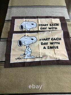Peanuts Vintage Taie Set De Charlie Brown Snoopy 1958 Made In Ireland