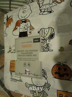 Poterie Barn Enfants Halloween Drap Set Jumeau Peanuts Charlie Brown Snoopy Nouveau