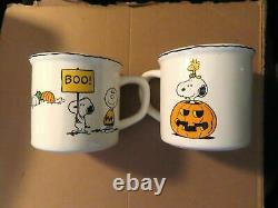 Poterie Épaulettessnoopycharlie Plaques D'halloween Brunes(4) Et Tasses(2)nib