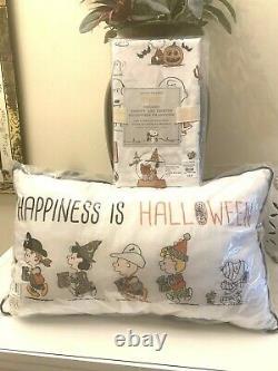 Pottery Barn Set Pillow+case Snoopy Citrouille Halloween Charlie Brown Cadeau De Vacances