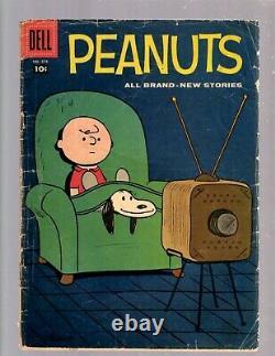 Quatre Couleurs #878 Vg Dell Comic Book 1958 Peanuts Charlie Brown Snoopy Schultz Jk7