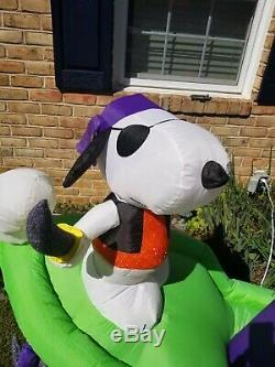 Rare Animation Halloween Charlie Brown Snoopy Pirateship Gonflable Airblown