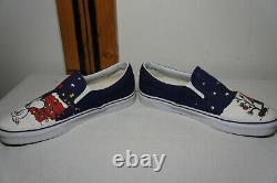Rare Vans X Peanuts Snoopy Charlie Brown Christmas Slip On Men's Shoes Sz 8.5