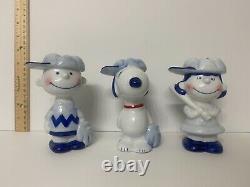 Rare Vintage Ensemble De Baseball En Céramique De 3 Pièces Snoopy, Charlie Brown, Lucy Mint Box