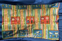 Rare Vtg Peanuts Cas Pillow Avec Les Noms De Caractères Snoopy Charlie Brown Vgc Htf