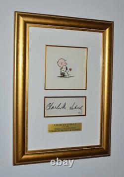 Signé Charles Schulz Autograph, Snoopy Gravure, Coa, Uacc, Park West & Frame