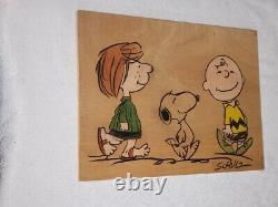 Snoopy - Charlie Brown Genuine Original Charles Schulz A Signé L'œuvre Peanuts