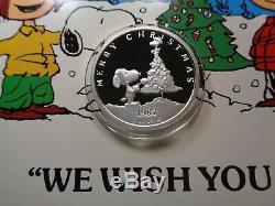 Snoopy Charlie Brown Woodstock Peanuts 1987 Noël 999 Argent-monnaie Coa