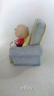 Snoopy Peanuts Argent Tirelire Sofa Charlie Brown, Rare