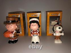 Snoopy Peanuts Charlie Brown Kurt Adler Porcelain Thanksgiving 4 Figurines 2000
