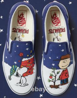 Vans Off The Wall Peanuts Charlie Brown Snoopy Christmas Slip Shoes Sz 8.5