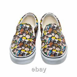 Vans X Peanuts Slip-on Shoes (nouveau) The Gang Snoopy Charlie Brown Taille 12