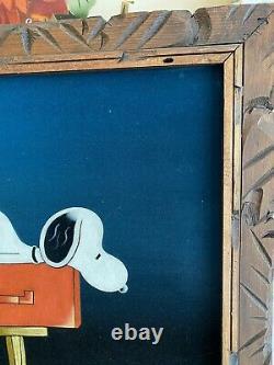 Vintage 1970s Snoopy Velvet Painting Mailbox Charlie Brown Clean! 19,75x23,75