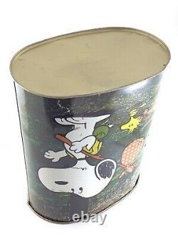 Vintage 1978 Chienco Peanuts Charlie Brown Snoopy Woodstock Corbeille En Métal T906