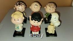 Vintage Années 1960 Complete Set 6 Peanuts Gang Bobblehead Nodder Snoopy Charlie Brown