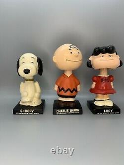 Vintage Années 1960 Ensemble Complet 6 Peanuts Gang Bobblehead Nodder Snoopy Charlie Brown