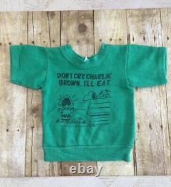 Vintage Charlie Brown Peanuts Snoopy Sweatshirt Norwich Taille Toddler 2 Vert