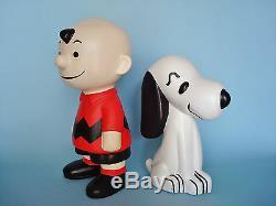 Vintage Charlie Brown & Snoopy Figures Céramique 9 1/4 Et 1/4 7 Respectivement