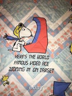 Vintage Charlie Brown Snoopy Peanuts Quilted Blanket Arcade Jeux Vidéo 80x107