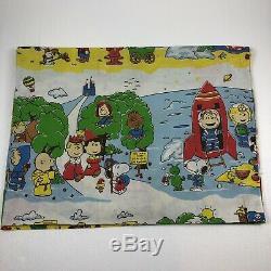 Vintage Peanuts Flattwin Feuille Snoopy Goes Charlie Brown Cowboy Tissu Ouest
