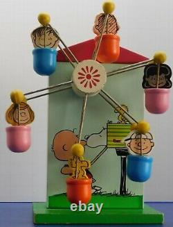 Vintage Peanuts Snoopy Charlie Brown Schmid Wooden Bank Music Box Rare