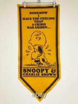 Vintage Snoopy Felt Banner Pennant Charlie Brown