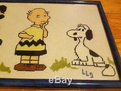Vintage Snoopy Peanuts Charlie Brown Needlepoint Crewel Framed Wall Art
