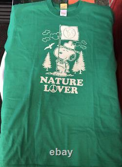Vintage T Shirt Vert Snoopy Nature Lover Peanuts Marque Taille L Charlie Brown