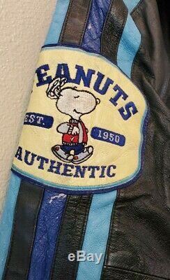 Vtg Américaine Toons Arachides Par Excelled Charlie Brown Snoopy Veste En Cuir Grand