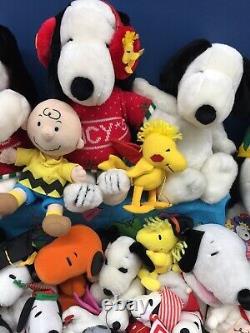 Vtg & Modern Lot 49 Peanuts Snoopy Woodstock Charlie Brown Peluche Lot Utilisé