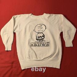 Vtg Snoopy Charlie Brown Sweat XL 60 Tout Coton Vintage 1960